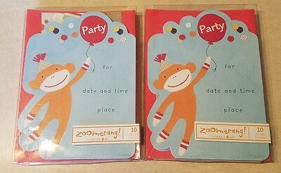 Sock Monkey Invitations (20 Sock Monkey Party Invitations Red Envelopes By Zoomerang new birthday)