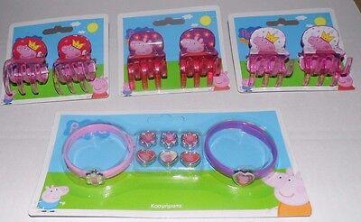6 x Peppa Pig Haarklammer + 1 x Wechselarmbandset Wutz Rebecca rosa Armband Zopf