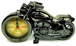 Motorcycle Autobike Harley Davidson Analog Top Grade Desk Alarm Clock All Gold