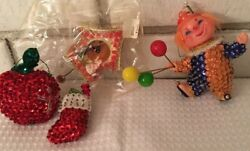 4 Sequined Christmas Ornaments Vintage Clown Apple Stocking Cuckoo Clock