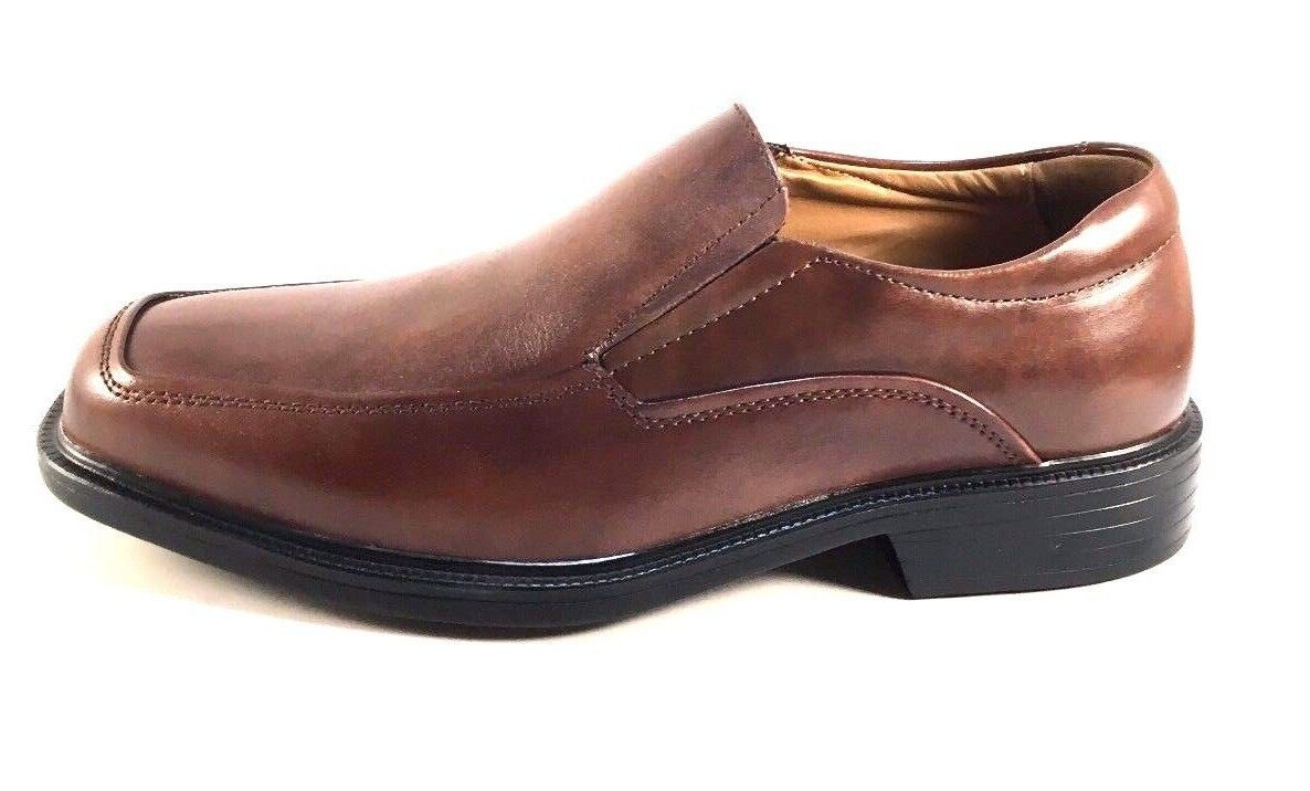 La Milano A1720 Brown Leather Comfort Extra Wide (EEE) Men's Slip On Dress Shoes 1