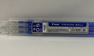 Pilot Frixion Ball 0.5mm Fine Point Blue Ink Replacements Pack Of 3- New