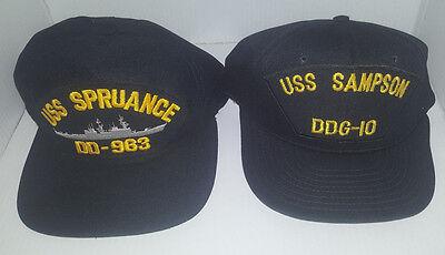 Lot of 2 Navy Hat Caps USS SPRUANCE DD-963 & USS SAMPSON DDG-10 Blue Polyester
