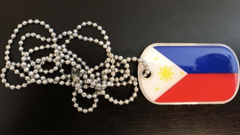 Philippine Flag Dogtag Filipino Philippines Pinoy Pinay Necklace Pendant Chain