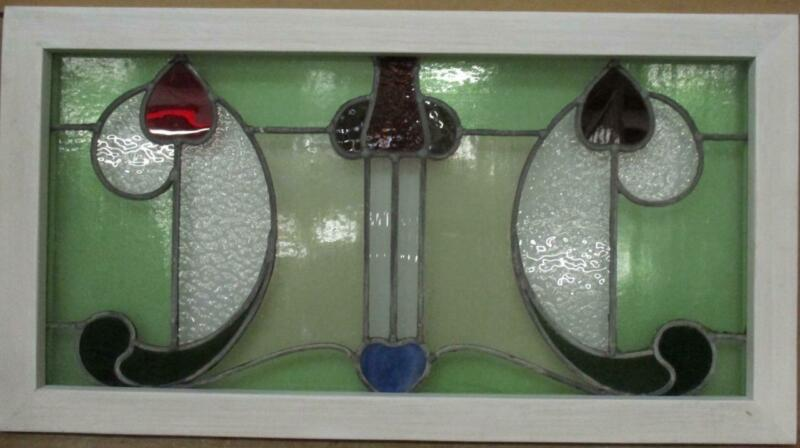 """OLD ENGLISH LEADED STAINED GLASS WINDOW TRANSOM Pretty Floral 32.25"""" x 17.25"""""""
