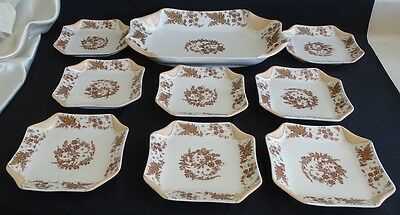 Haviland Limoges France Folded Napkin Fold 9pc Ice Cream Set Pink w/Brown Ferns - Napkin Fold
