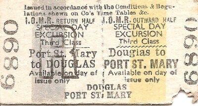 Isle of Man Railway Edmondson Ticket - Douglas to Port St. Mary