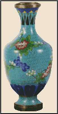 Oriental Turquoise Cloisonne' Vase Counted Cross Stitch Chart No.25-106
