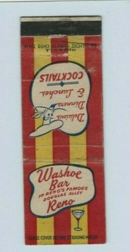 WASHOE BAR 1933 MATCHCOVER - DOUGLAS ALLEY, RENO, NEVADA
