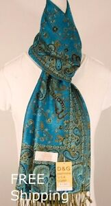 DG Pashmina Scarf Shawl Wrap-Trendy Paisley Many Color,Silk Cashmere*Soft-011