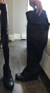 Above knee black wedge boots