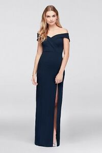 Off the shoulder navy gown from David's Bridal