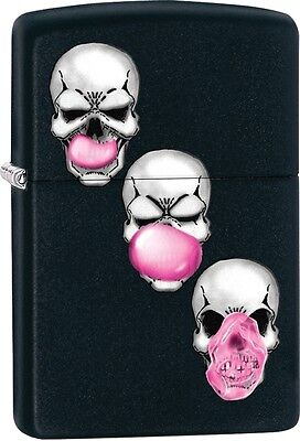 Zippo Skull Chewing Bubble Gum Black Matte WindProof Lighter NEW 29398