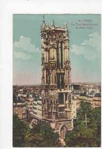 Paris-Tour-St-Jacques-Vintage-Postcard-France-040a