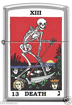 Tarot XIII Death Card skeleton with Sickle Brushed Chrome Zippo Lighter