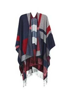 Red/ Black/ Navy/ Grey Reversible Shawl Wrap  Poncho Cape