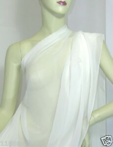 REAL Silk Chiffon GEORGETTE FABRIC Off White by yards