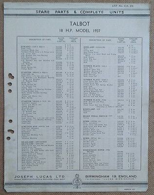 Talbot 18hp 1937 model  Lucas Parts List 316  Others available