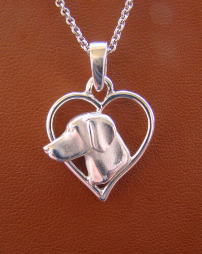 Small Sterling Silver Weimaraner Head Study On A Heart Pendant