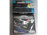 Retro Sega Mega Drive & Sega Mega CD consoles in Original boxes