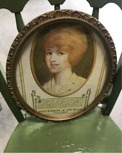 Victorian oval picture frame with dental ad