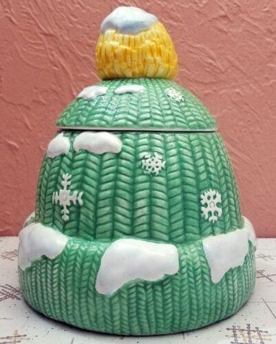 Stocking Cap Cookie Jar Christmas Ceramic Winter Knit Green Yellow Tassel Snow