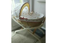 Baby Moses Basket, Mattress, Hood & Stand