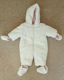 Girls white pram suit 0-3 mths