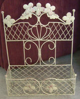 Unique Wrought Iron Wall or Stand Planter