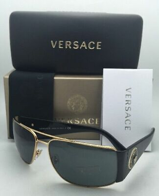 New VERSACE Sunglasses VE 2163 1002/87 63-15 Black & Gold Frame w/ Grey Lenses