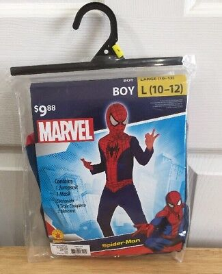 Spider Man Costume Boy's Large Halloween Set Cosplay New