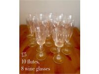 Wine glasses and flutes