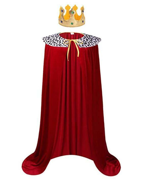 YOLSUN King Cape Costume for Kids/Adult Cosplay