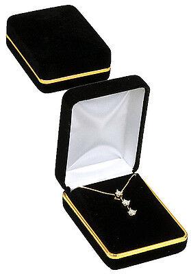 Black Velvet Gold Trim Pendant Earring Jewelry Gift Box 2 14 X 3 X 1 14h