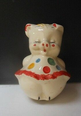circa 20's-30's PIGGY BANK White Red Blue Yellow CLOWN Costume! 5-3/4