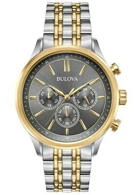 Bulova Men's Quartz Chronograph Two-Tone Grey Dial 42mm Watch 98A215