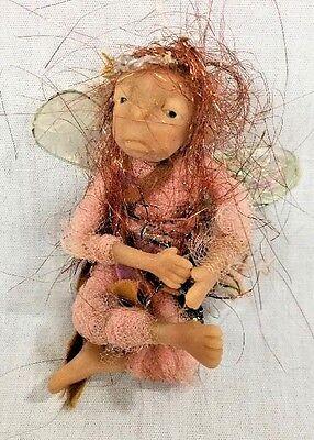 Handmade Polymer Clay Sculpture Small Fairy Art Doll Copper Hair/Brown Eyes