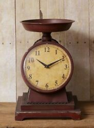 Farmhouse STYLE SCALE Table CLOCK Deep Red Burgundy Decorative Vintage Look