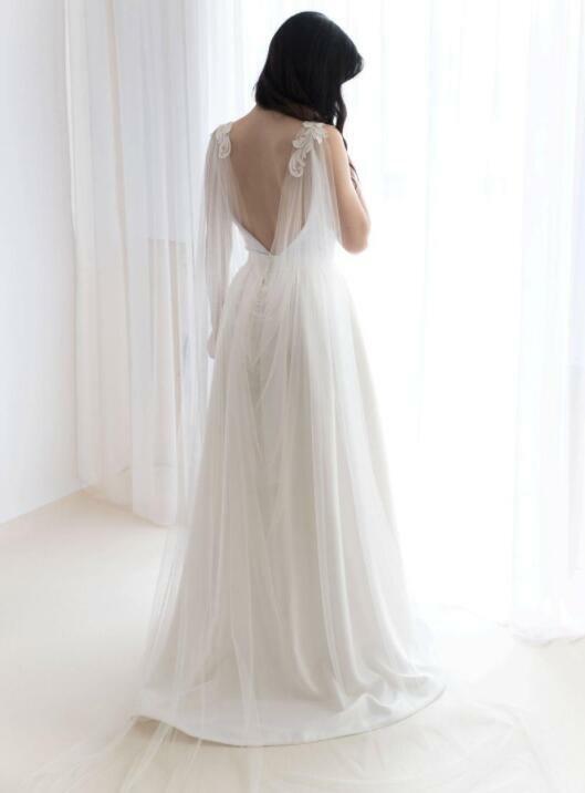 Cathedral Length Wedding Cape Modern Shoulder Veil Lace Bridal White Ivory Shawl