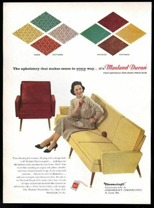 1959 Chromcraft modern Continental Line chair sofa photo Masland Duran print ad