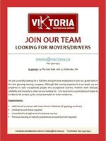 Moving company looking for Drivers / Movers