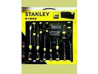 DIY House hold New Stanley Tool Set 48 Piece, screwdriver, drillbits, socket