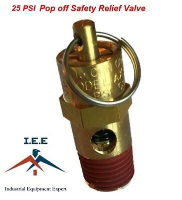 Air Compressor Safety Pop Off Valve 25 Psi Asme Coded