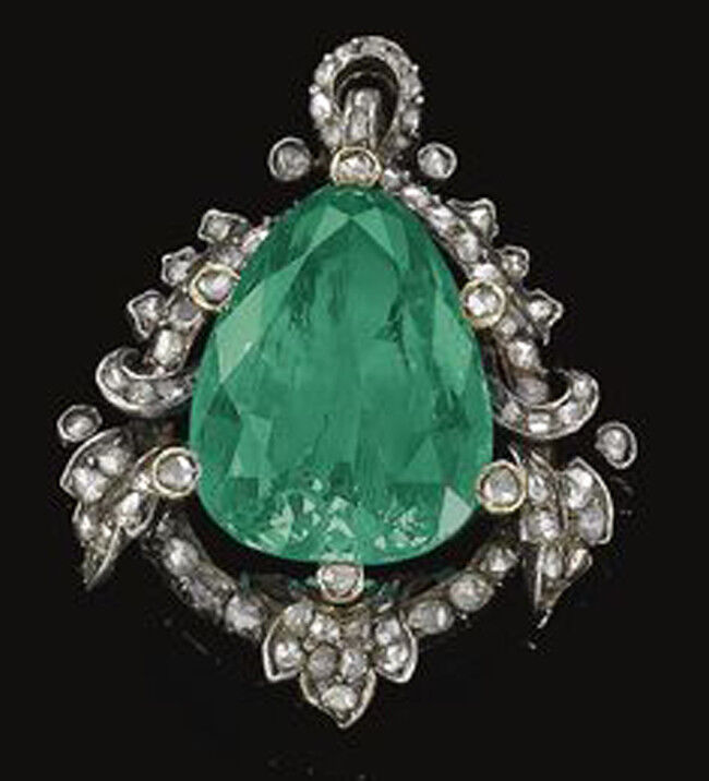 3.14ct ROSE CUT DIAMOND EMERALD ANTIQUE VICTORIAN LOOK 925 SILVER PENDANT