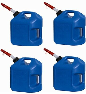 4 Ea Midwest 7600 5 Gallon Blue Plastic Spill Proof K-1 Kerosene Fuel Cans
