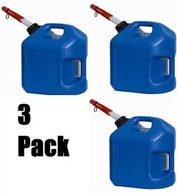 3 Ea Midwest 7600 5 Gallon Blue Plastic Spill Proof K-1 Kerosene Fuel Cans