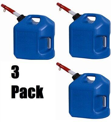 3 Ea Midwest 7600 5 Gallon Blue Plastic Spill Proof K-1 Kerosene Fuel Cans