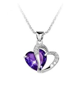 Necklace Amethyst Purple Heart Crystal Pendant NEW Length (inches): 19.6 FREE Just Pay P&P