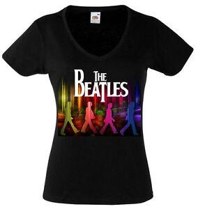 The Beatles Abbey Road 2 Lady Black T Shirt Rock Woman