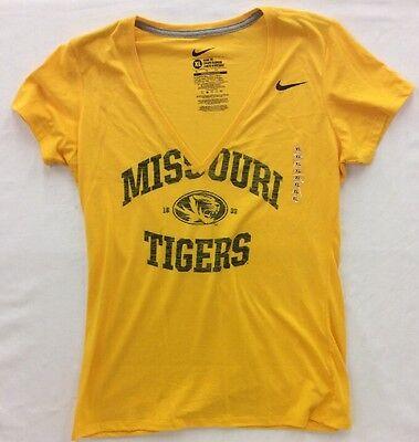 Ncaa Womens Nike Missouri Mizzou Tigers Slim V Neck Front Logo T Shirt Yellow